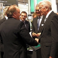 Baden-Wurttemberg's Prime Minister Winfried Kretschmann arrives at Pepperl+Fuchs