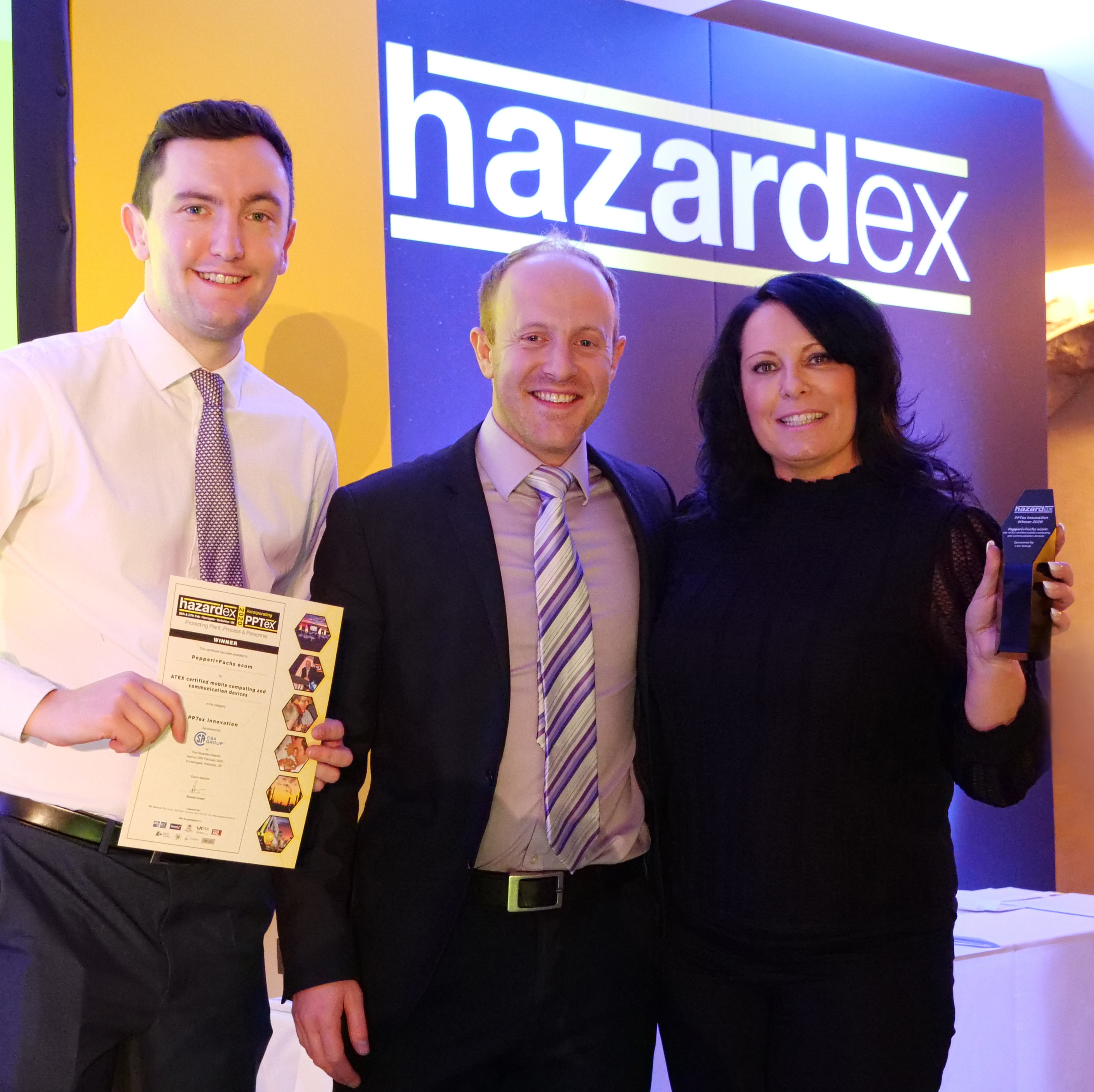 Adam Garner, Commercial Director of the CSA Group (middle) pictured with Karen Jarrett and Max Begley from Pepperl+Fuchs.