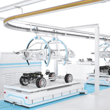 Tracking of AGVs in automotive production lines