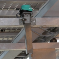 Inductive reading head of RFID system on the underside of the conveyor system
