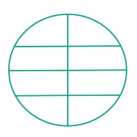 Divide the circular area with four straight lines into as many pieces as possible.