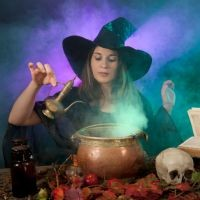 The witch recites a spell beginning with the puzzling verses of Goethe's witch`s one-times-one.