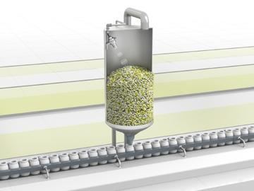 UMB800 ultrasonic sensor continuously detects fill levels in hoppers