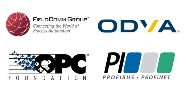 leading associations Fieldcomm Group, OPC Foundation, ODVA, PROFIBUS, and PROFINET International
